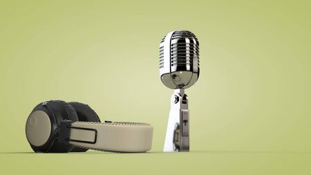 Studio audio headphones and microphone. 3D rendering.