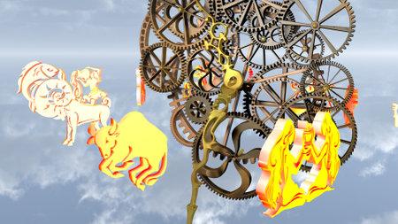 Zodiac horoscope, 12 zodiac signs and a clockwork.