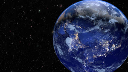 Planet Earth in the universal space