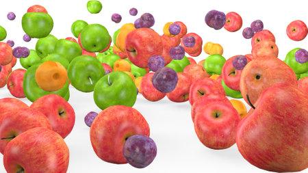 Fruit mix in animated fruit movement Фото со стока