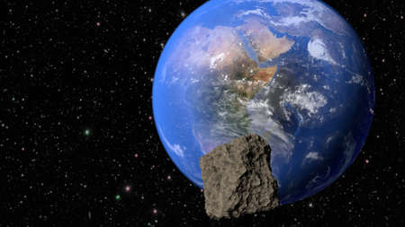 Planet Earth, continent Africa and meteorite flying to it