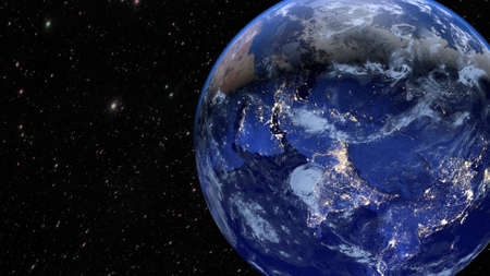 Planet Earth with the cities of Asia, India and China. Фото со стока