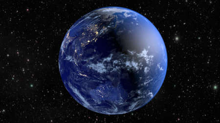 Planet Earth with the cities of Australia, Asia, India and China. Фото со стока
