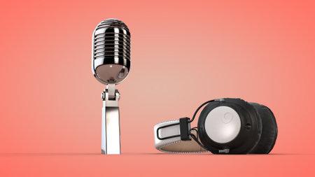 Studio audio headphones and microphone.