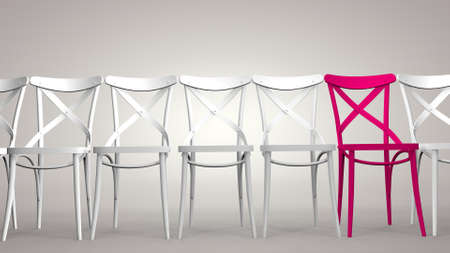 A chair stands out among the others