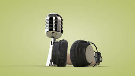 Studio audio headphones and microphone. 3D rendering