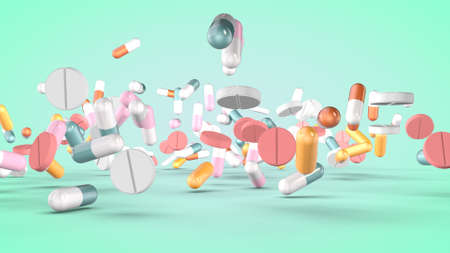 Set of various pills and capsules. 3D rendering Stock fotó - 154871834