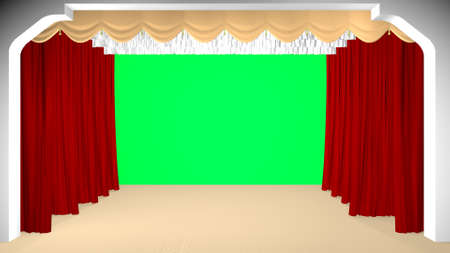 Theater curtain parted, green background. 3D rendering