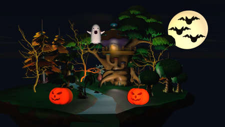 A small house with pumpkins and a funny ghost. Фото со стока