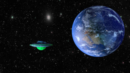 UFO with planet Earth on the galaxy