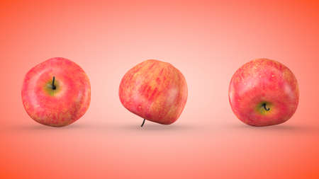 Ripe red apples on red