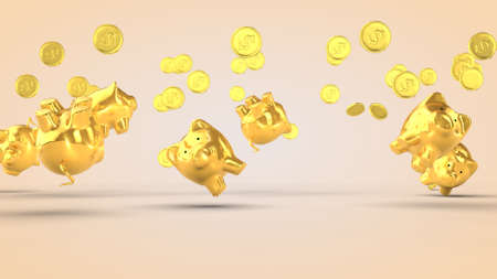 Golden piggy banks and gold coins on beige Фото со стока