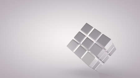 Rotation of the cube at an angle isolated on grey