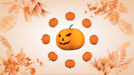 Halloween greeting card with pumpkins Фото со стока