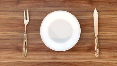 Steel cutlery and plate on wooden table