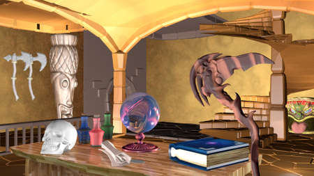 Divination on the Mogic ball. 3D rendering.
