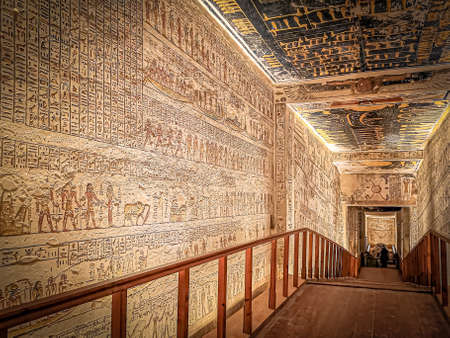 January 2020 - Luxor, Egypt: KV9, Kings' Valley No. 9, Tomb of Memnon, tomb of the pharaohs from the 20th dynasty: Ramses V and Ramses VI