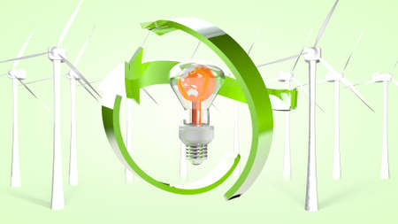 The concept of green production and ecological use of energy. 3D rendering.