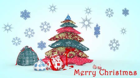Beautiful Christmas composition with snowflakes. 3D rendering. Фото со стока