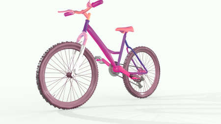 Bright bike, endless bike traffic. 3D rendering. Фото со стока
