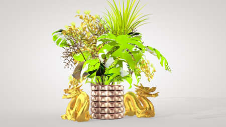Luxurious oriental bouquet and Chinese dragon - a symbol of well-being, interior design, 3D rendering. Фото со стока