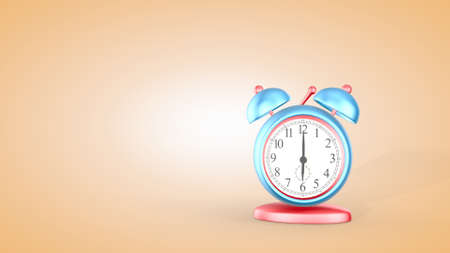 Time, cute alarm clock isolated on light background, 6 o'clock. 3D rendering. Фото со стока