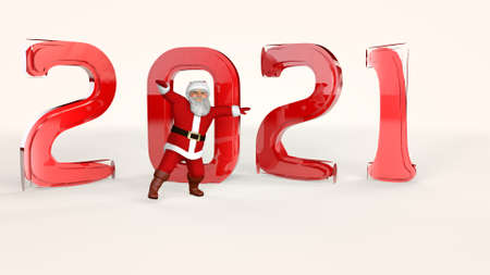 Cheerful Santa Claus in a red suit is dancing. 3d rendering. Фото со стока