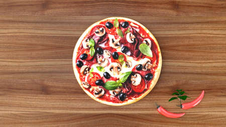 Pizza with salami and olives, advertising background. 3D rendering.