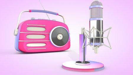 Studio microphone and retro radio. 3D rendering.