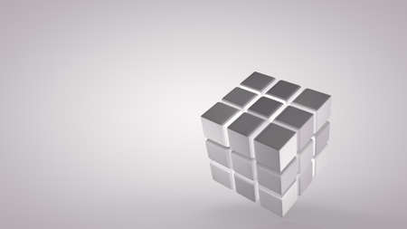 Rotation of the cube at an angle, isolated on a light background. 3D rendering.