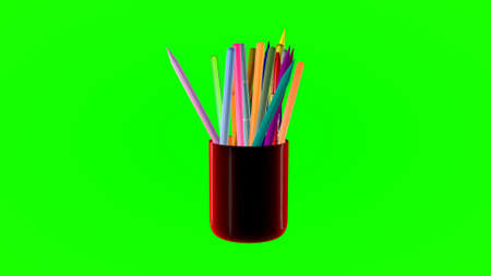 glass with colored pencils on a green background. 3d rendering.