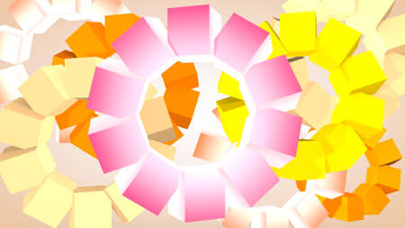 Abstract graphic background from rotating cubes, 3D rendering.