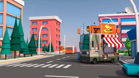 A fun urban food truck. 3D rendering.