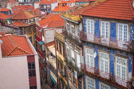 Colorful city street in Porto, Portugal. European urban architecture.