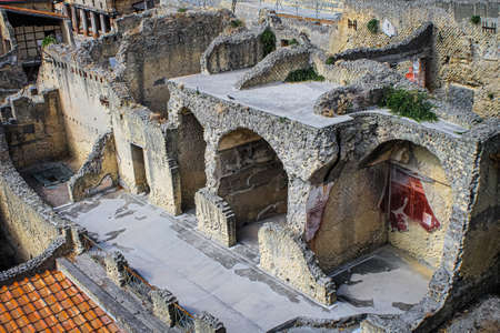Ruins of the ancient Roman city of Herculanum on the shores of the Gulf of Naples
