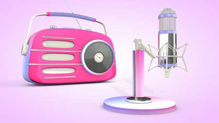 Studio microphone and retro radio. 3D rendering