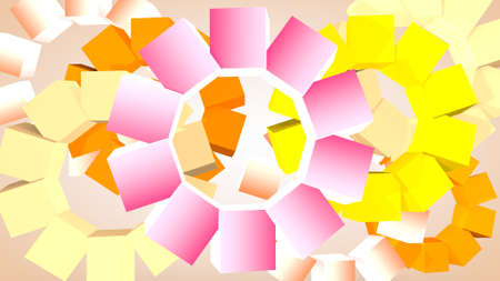 Abstract graphic background from rotating cubes, 3D rendering Stok Fotoğraf