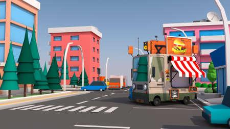 A fun urban food truck. 3D rendering