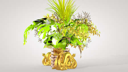 Luxurious oriental bouquet and Chinese dragon - a symbol of well-being, interior design, 3D rendering Stok Fotoğraf