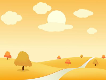rural road: Beautiful autumn landscape. illustration