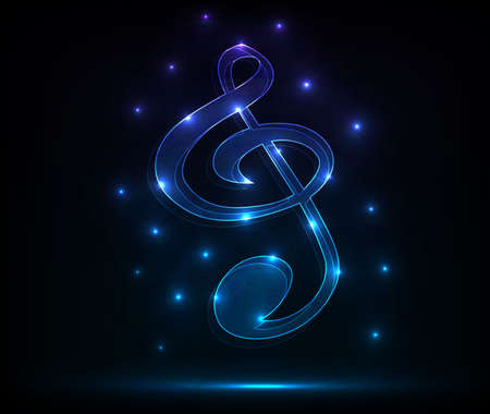 Neon treble clef Illustration