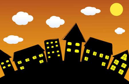 Night cartoon city Vector