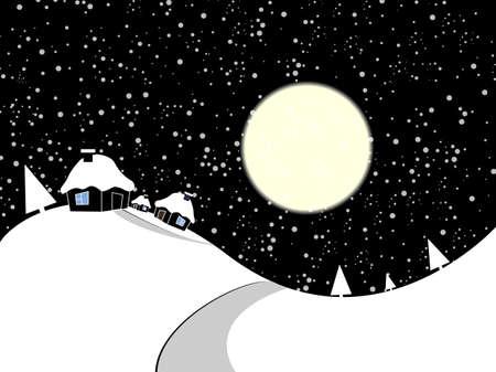 Cartoon winter village  Vector illustration Stock Vector - 12916877