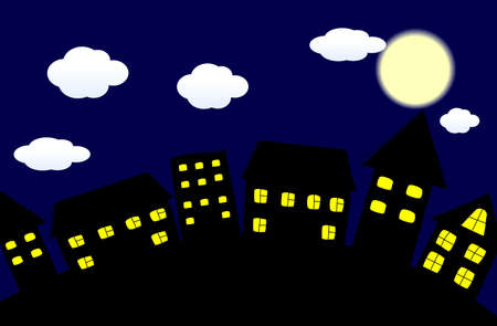 Night winter city  Vector illustration
