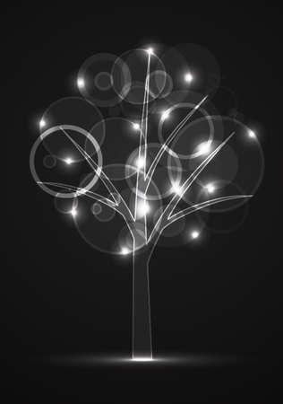 neon digital tree illustration