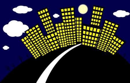 Cartoon night city. illustration