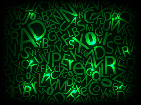 Neon abstract letters illustration