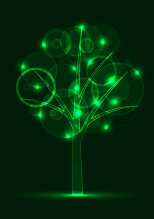 neon digital tree illustration