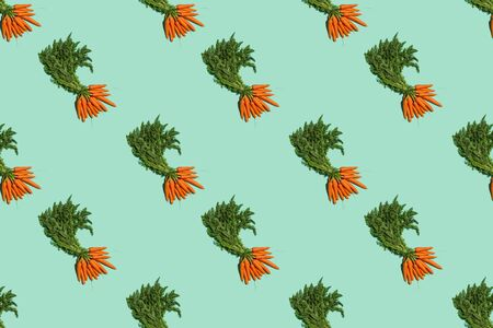 repeating collage of carrots against green background, pattern, summer