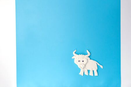 ox or bull modelling clay or salty dough craft concept for kid and kindergarten, year of the ox, how to make bull, step by step instruction, tutorial, DIY, step3, barnyard animal, assembly details Stock fotó